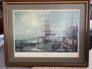 "John Stobart Signed  ""San Francisco Vallejo Street Wharf In 1863"" Print."