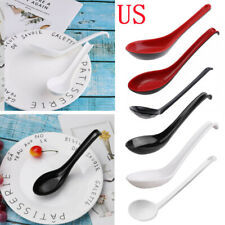 US 10 Large Soup Spoons Ramen Noodle Chinese Tableware with Long Handle Hook 7