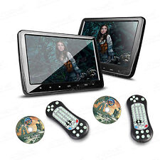 "Portable 10.1"" Black Dual Car Headrest DVD Player Digital Monitor Game HDMI IR"