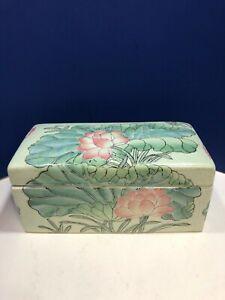 VTG Chinese Rectangular Porcelain Lidded Trinket Box Macau Hand Painted Floral