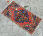 """Distressed Small Area Rug Hand Knotted Mat Turkish Yastik Faded Rug 1'6"""" x 3'"""
