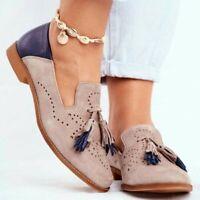 Damen Sneaker Loafers Slip On Quaste Flache Freizeit Elegant Arbeit Halbschuhe