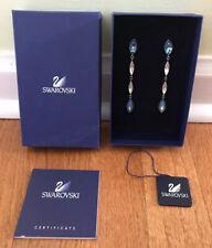 Swarovski Enjoy Pierced Earrings 994976 blue clear crystal rhodium dangle long