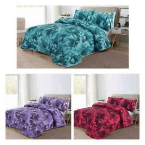 Poly Cotton Quilted 3 Piece Comforter Bed Throw Set Double Kingsize BedSpread