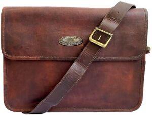 """18"""" Leather Men's Vintage Large Capacity Laptop Shoulder Messenger Bag Satchel"""