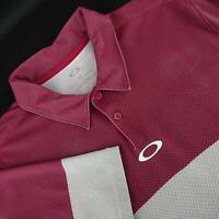 Mens Oakley Hydrolix Regular Fit Maroon Golf Polo Shirt Size Large L Performance