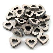 24x Herzen Holz natur-geweißt, offen klein 3,2cm x 0,8cm / NICE PRICE