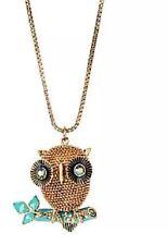 Betsey Johnson 3D Gold Tone Owl Long Pendant Necklace B09613-N01 $58 NWT