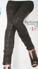 Black Slimming Effect Leggings. Opaque Ruched detail. SMALL NEW. Size 8 10