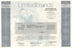 Limited Brands collectible stock certificate Victoria's Secret model underprint