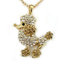 Lovely Poodle Dog Golden Yellow Austrian Crystal White Gold Plated Necklace