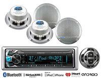 "Kenwood Bluetooth USB AUX Marine Radio/Wired Remote,5.25"" Silver Marine Speakers"