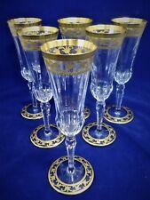 Saint Louis , set 6 flûtes en cristal, Rare modèle Calot. no thistle