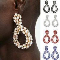 Trendy Women Crystal Geometric Water Drop Shaped Dangle Earrings Wedding Jewelry