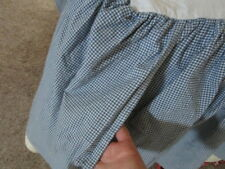 "Custom Made Ethan Allen King Bed Skirt Dust Ruffle Blue Gingham 15"" drop"