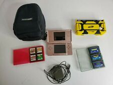 Nintendo DS Lite Coral Pink Console System BUNDLE w/ 7 Games Charger & Case