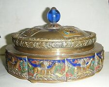 "CHINESE 1900s GILT BRASS ENAMELS CLOISONNE HORSES BOX GLASS INSERT 7"" Lg. LIDDED"