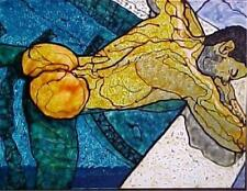 """POOLBOY HAND PAINTED STAINED GLASS PAINTING MALE NUDE GAY INTEREST FRAMED 8X10"""""""