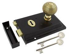 Black Brass Rim Lock Keyhole With Aged Brass Beehive Mortice Door Knob Pair
