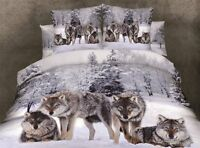 High Quality Snow Wolves Cotton Blend 3D Queen Size Bedding Set 4 Pcs