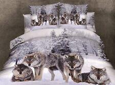 High Quality Snow Wolves Cotton Blend 3D Queen Size Bedding Set 4 Pcs
