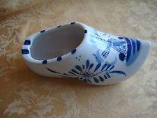 "Vintage Delft Blue Holland Ashtray Shoe Handpainted Windmill Large 8 1/4"""