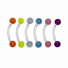 Curved Barbell Glow In The Dark Eyebrow Ring Body Jewelry 16g 5/16 6pc