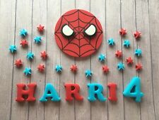 Handmade Edible Spiderman Cake Topper with 50 Stars & Name -Superhero