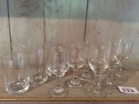 3 Of 3 Types Of  Vintage Crystal Glasses Wine Sherry Port Liquer Etched glasses