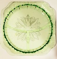 Green Depression Glass Divided Square Plate  9 x 9 vintage
