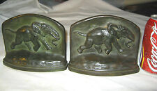 Antique Bronze Running African Elephant Mission Art Statue Sculpture Bookends Us