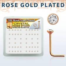 Nasenstecker 925 Silber vergoldet Rotgold L-Form Zirkonia Kristall Nasenpiercing