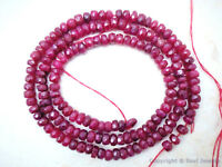 """RUBY 3.5-4mm Faceted Rondelle 8"""" Str 33Ctw (85 Precious Ruby Beads approx.)"""