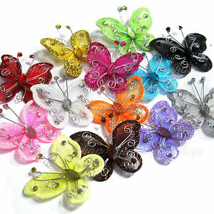 "20/50-PACK 2"" Organza Nylon Mesh Butterflies With Wire Glitter & Rhinestones New"