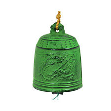 """Japanese Wind Chime Furin Rustic Green Dragon Design Cast Iron 3.75"""""""