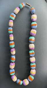 "Vintage Glazed Ceramic Bead Necklace 20"" EUC Teal Purple Beautiful Art"