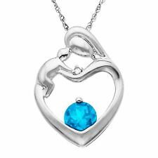 5/8 ct Natural Swiss Blue Topaz Mother's Jewel Pendant w/ Diamond 10K White Gold