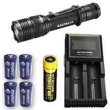 EagleTac T200C2 Flashlight w/D2 Charger, NL183 & 4x Eco-Sensa CR123A Batteries