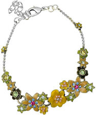 NEW PILGRIM SILVER PLATED BRACELET CRYSTALS ENAMEL FLOWERS LILY COLLECTION rare