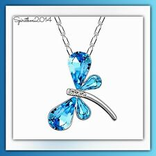 Swarovski Elements Blue Crystal Dragonfly Pendant Necklace Womens Jewellery Gift