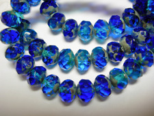 Czech Cobalt Blue Picasso 8 X 6 Mm Faceted Rondelle Glass Beads 25