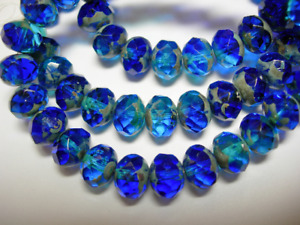 25 8x6mm Cobalt and Capri Blue Blend Czech Glass Picasso Rondelle beads
