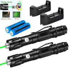 2Pcs Star Green Laser Pointer Pen Lazer+Belt Clip+Rechargeable Battery+Charger