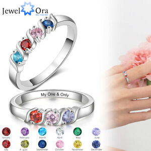 Personalized Mothers Ring with Simulated Birthstones Engraved Anniversary Rings