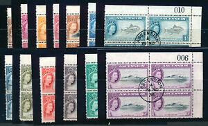 ASCENSION 1956 DEFINITIVES SG57/69 CORNER NUMBER BLOCKS OF 4 USED MNH
