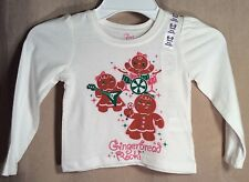 NWT Toddler Girls Children's Place TCP Gingerbread Rock! Shirt 6-9m White 6m NEW