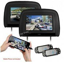 """'2 x 9"""" In Car Monitor DVD Player Headrest with HDMI Input and 2 IR Headphones"""