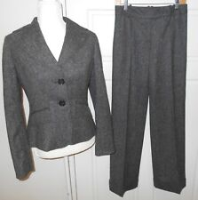 Ann Taylor 2 Piece Suit Gray Tweed Virgin Wool Blazer/Jacket Pants Size 2 EUC