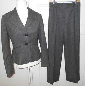 Ann Taylor 2 Piece Suit Gray Tweed Virgin Wool Blazer/Jacket Pants Size 2 EUC