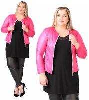 Magna - Damen Jacke Bolero - Lederoptik - Pink  - 40 42 44 46 48 50 52 54 56 58